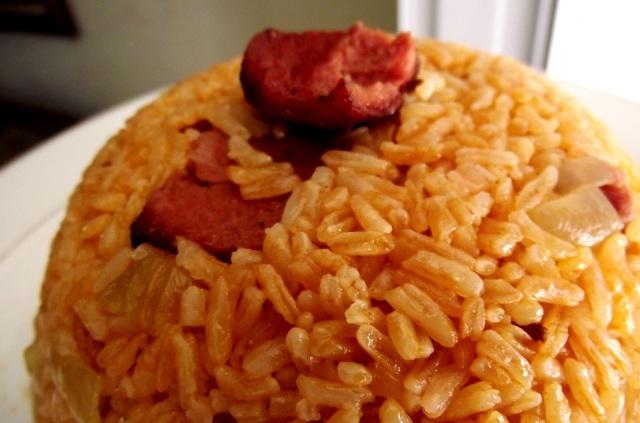 Dominican salami rice